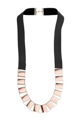 Topshop Box Chain Leather Necklace Rose Gold
