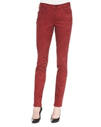 Christopher Blue Mid Rise Leopard Print Skinny Jeans Women's