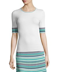 M Missoni Micro Triangle Striped Tee Size 42 Ivory