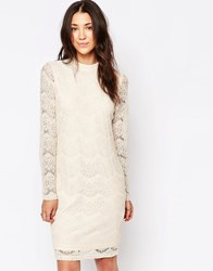 B.Young High Neck Lace Dress Off White