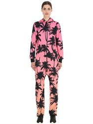 Onepiece Palm Print French Terry Cotton Jumpsuit