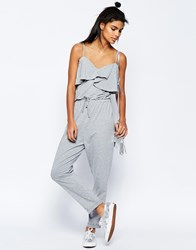 Asos Jumpsuit With Peg Leg And Ruffle Detail Gray Marl