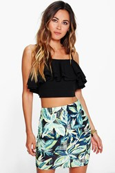 Boohoo Tropical Palm Print Mini Skirt Multi