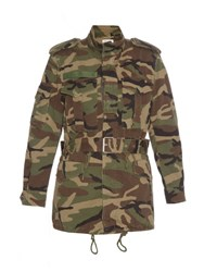 Saint Laurent Camouflage Print Cotton Coat Khaki