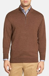 Men's Peter Millar Leather Trim Quarter Zip Pullover Sweater Cocoa