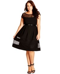 City Chic Plus Size Empire Waist Belted Lace Dress