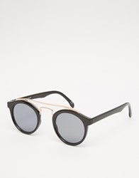 Asos Round Sunglasses In Black And Rose Gold With Flat Lens Black