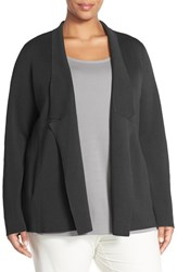 Plus Size Women's Eileen Fisher Silk And Organic Cotton Sweater Jacket Black