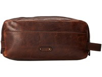Frye Logan Travel Dopp Large Dark Brown Antique Pull Up Toiletries Case