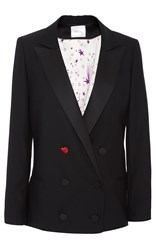 Racil Prince Double Breasted Tuxedo Jacket Black