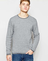 Jack And Jones Jack And Jones Knitted Jumper In Mixed Yarns Navy