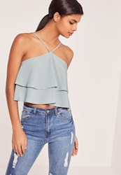 Missguided Double Frill 90'S Neck Crop Top Grey