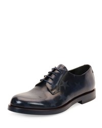 Valentino Embossed Star Lace Up Leather Shoe Blue