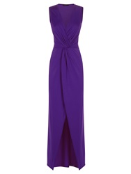 Hotsquash Long Elegant Maxi Dress With Knot Detail Purple