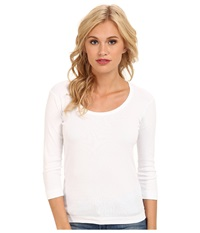 Three Dots 3 4 Sleeve Scoop Neck White Women's T Shirt