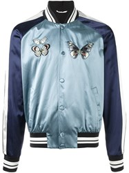 Valentino 'Camubutterfly' Embroidered Souvenir Jacket Blue