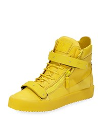 Giuseppe Zanotti Men's Double Strap Leather High Top Sneaker Yellow