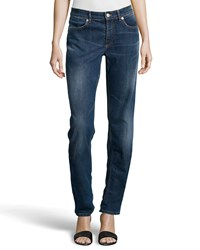 Escada Embroidered Pocket Straight Leg Jeans Medium Blue