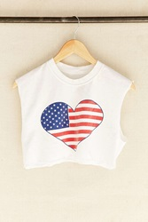 Urban Renewal Vintage Flag Heart Cropped Tank Top Assorted