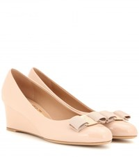 Salvatore Ferragamo Mirabel Patent Leather Wedges Neutrals