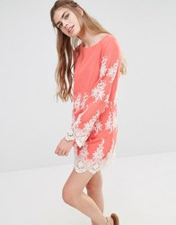 Endless Rose Lace Long Sleeve Mini Dress Coral Cream Pink