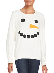 Wildfox Couture Long Sleeve Snowman Top White