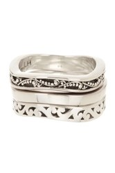 Lois Hill Sterling Silver Triple Stack Wavy Ring Set Size 9 No Color