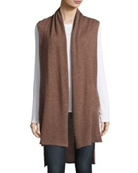 In Cashmere Long Open Front Vest Medium Brown