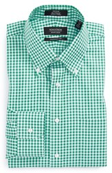 Men's Big And Tall Nordstrom Non Iron Traditional Fit Gingham Dress Shirt Green Emerald
