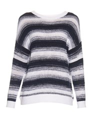 Vince Striped Cotton Knit Sweater White Navy