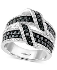 Effy Collection Caviar By Effy White And Black Diamond Ring 1 1 2 Ct. T.W. In 14K White Gold