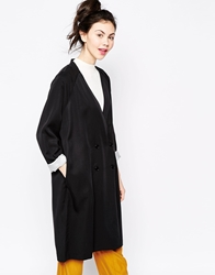Monki Trench Coat Black