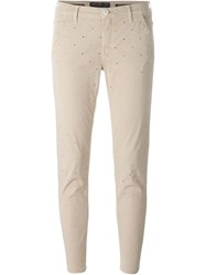 Jacob Cohen Eyelet Pattern Slim Fit Cropped Trousers Nude And Neutrals
