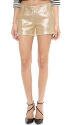 Alice Olivia Cady Cuff Metallic Shorts Gold