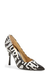 Moschino Print Pointy Toe Pump Women White Black Leather