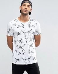 Asos T Shirt With Marble Texture Print White