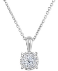 Trumiracle Diamond Halo Cluster Pendant Necklace 1 3 Ct. T.W In 14K White Gold