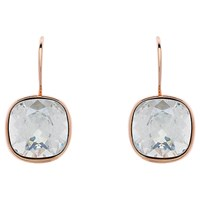 Melissa Odabash Cushion Cut Swarovski Crystal Drop Earrings Moonlight Rose Gold