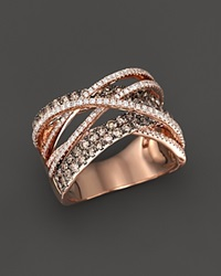 Bloomingdale's Brown And White Diamond Crossover Ring In 14K Rose Gold Pink Brown