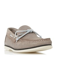 Bertie Bubble Textured Suede Boat Shoes Taupe