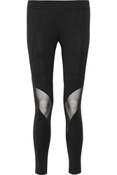 Balmain Mesh Paneled Jersey Leggings Black