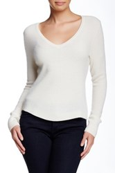 White Warren Slim Chevron Cashmere V Neck Sweater White