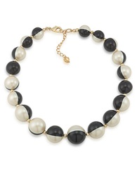 Carolee Optical Opposites Bead Necklace Black White Gold