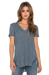 Saint Grace Lax Oversized V Neck Tee Blue