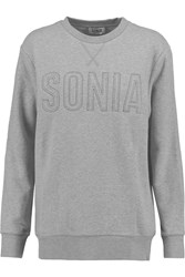 Sonia Rykiel Embroidered Cotton Blend Sweatshirt Gray