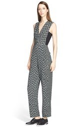 Women's Yigal Azrou L Chevron Print Sleeveless Jumpsuit