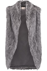 Dkny Faux Fur Vest Dark Gray