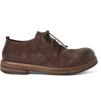 Marsell Washed Suede Derby Shoes Brown