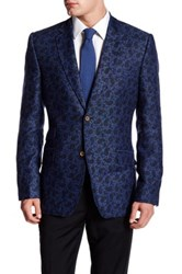 Ted Baker Herringbone Paisley Two Button Notch Lapel Linen Sports Coat Blue