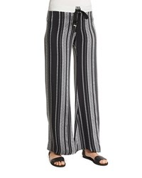 Zeus Dione Printed Silk Drawstring Pants Black Size 44